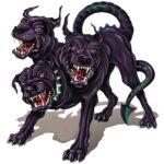 De hellhond, Cerberus, heeft 3 koppen.