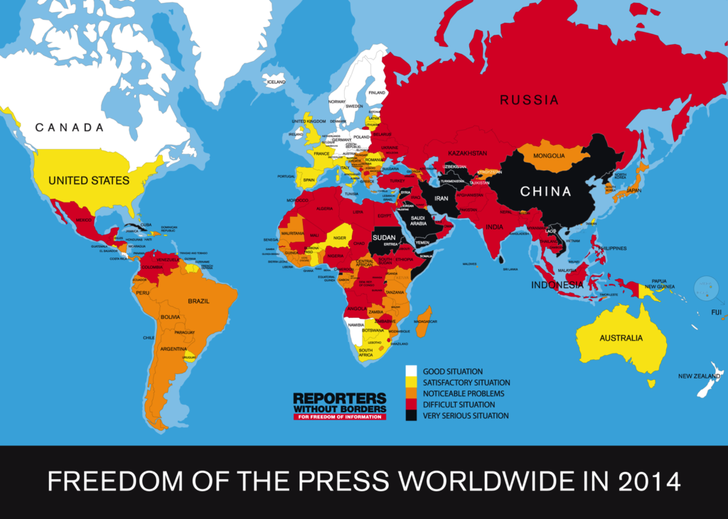 Persvrijheid 2014 in kaart gebracht