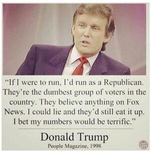 Donald Trump in 1998 over de Amerikaanse Republikeinen